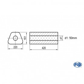 Silencieux universel type 644 en inox / 220x161mm / d1 Ø50mm/ longueur 420mm