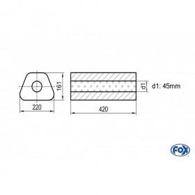 Silencieux universel type 644 en inox / 220x161mm / d1 Ø45mm/ longueur 420mm