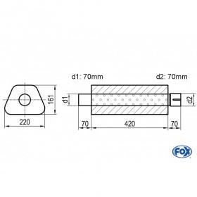 Silencieux universel type 644 en inox / 220x161mm / d1 Ø70mm/ d2 Ø70mm/ longueur 420mm