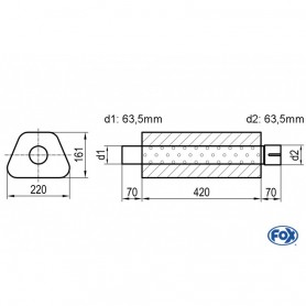 Silencieux universel type 644 en inox / 220x161mm / d1 Ø63.5mm/ d2 Ø63.5mm/ longueur 420mm
