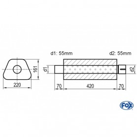 Silencieux universel type 644 en inox / 220x161mm / d1 Ø55mm/ d2 Ø55mm/ longueur 420mm