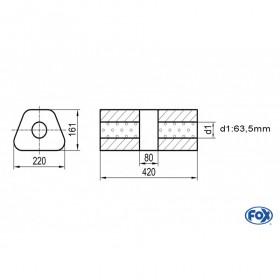 Silencieux universel type 644 en inox / 220x161mm / d1 Ø63.5mm/ longueur 420mm
