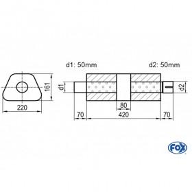 Silencieux universel type 644 en inox / 220x161mm / d1 Ø50mm/ d2 Ø50mm/ longueur 420mm