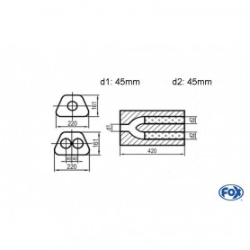 Silencieux universel type 644 en inox / 220x161mm / d1 Ø45mm/ d2 Ø45mm/ longueur 420mm
