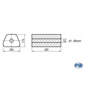 Silencieux universel type 711 en inox / 245x175mm / d1 Ø45mm/ longueur 420mm