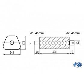 Silencieux universel type 711 en inox / 245x175mm / d1 Ø45mm/ d2 Ø45mm/ longueur 420mm
