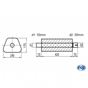 Silencieux universel type 711 en inox / 245x175mm / d1 Ø50mm/ d2 Ø50mm/ longueur 420mm