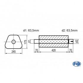Silencieux universel type 711 en inox / 245x175mm / d1 Ø63.5mm/ d2 Ø63.5mm/ longueur 420mm