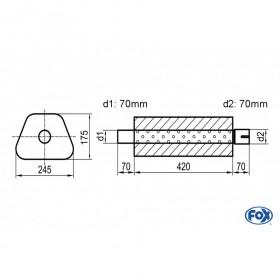 Silencieux universel type 711 en inox / 245x175mm / d1 Ø70mm/ d2 Ø70mm/ longueur 420mm