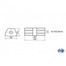 Silencieux universel type 711 en inox / 245x175mm / d1 Ø63.5mm/ longueur 420mm