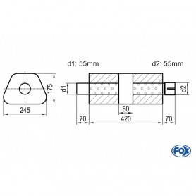 Silencieux universel type 711 en inox / 245x175mm / d1 Ø55mm/ d2 Ø55mm/ longueur 420mm