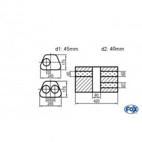 Silencieux universel type 711 en inox / 245x175mm / d1 Ø45mm/ d2 Ø40mm/ longueur 420mm