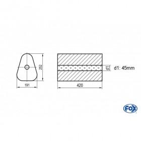 Silencieux universel type 725 en inox / 191x252mm / d1 Ø45mm/ longueur 420mm