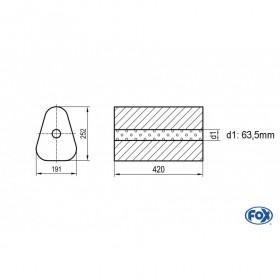 Silencieux universel type 725 en inox / 191x252mm / d1 Ø63.5mm/ longueur 420mm