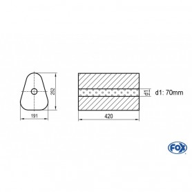 Silencieux universel type 725 en inox / 191x252mm / d1 Ø70mm/ longueur 420mm