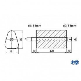 Silencieux universel type 725 en inox / 191x252mm / d1 Ø55mm/ d2 Ø55mm/ longueur 420mm