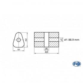 Silencieux universel type 725 en inox / 191x252mm / d1 Ø88.9mm/ longueur 420mm