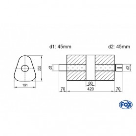 Silencieux universel type 725 en inox / 191x252mm / d1 Ø45mm/ d2 Ø45mm/ longueur 420mm