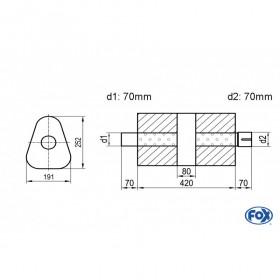 Silencieux universel type 725 en inox / 191x252mm / d1 Ø70mm/ d2 Ø70mm/ longueur 420mm