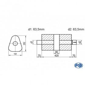 Silencieux universel type 725 en inox / 191x252mm / d1 Ø63.5mm/ d2 Ø63.5mm/ longueur 420mm