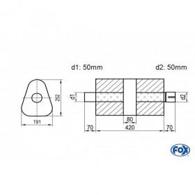 Silencieux universel type 725 en inox / 191x252mm / d1 Ø50mm/ d2 Ø50mm/ longueur 420mm